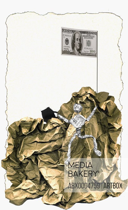 Figurine of a man climbing a mound of paper