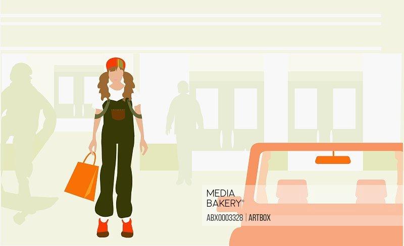 Woman standing beside a car