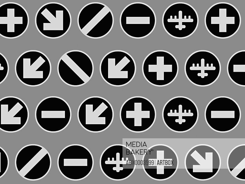 Signs and fighter plane in circles against gray background