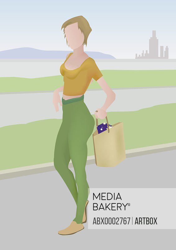 Woman walking with a shopping bag