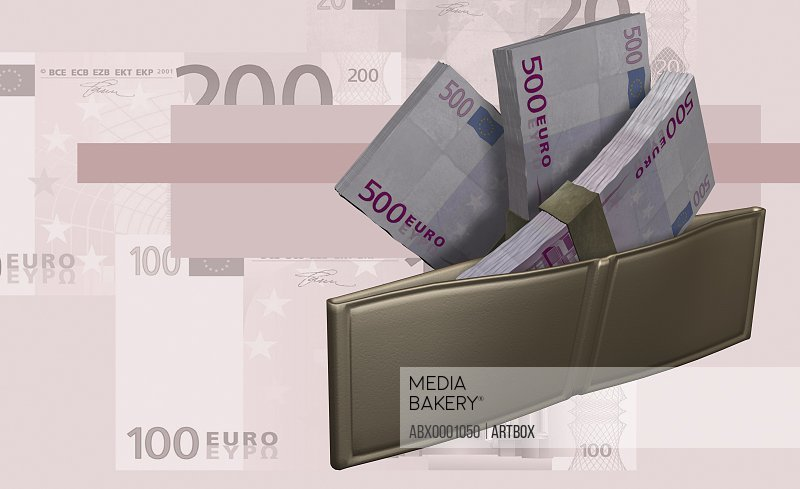 Wallet with bundle of Euros