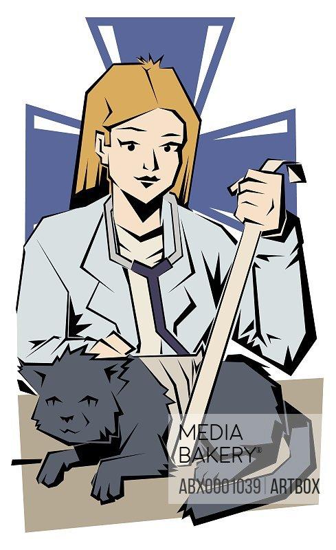 Female vet bandaging a cat