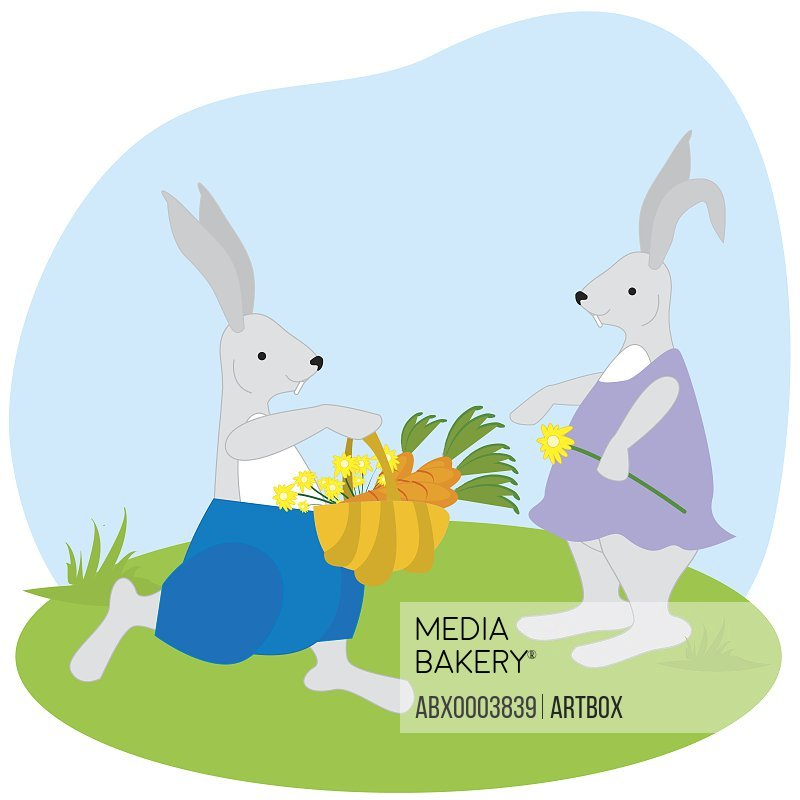 Male rabbit giving a basket of carrots and flowers to female rabbit