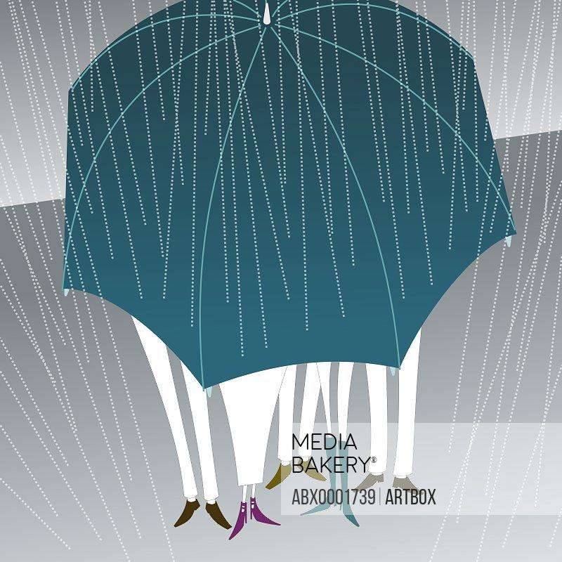 Three men and two women under an umbrella