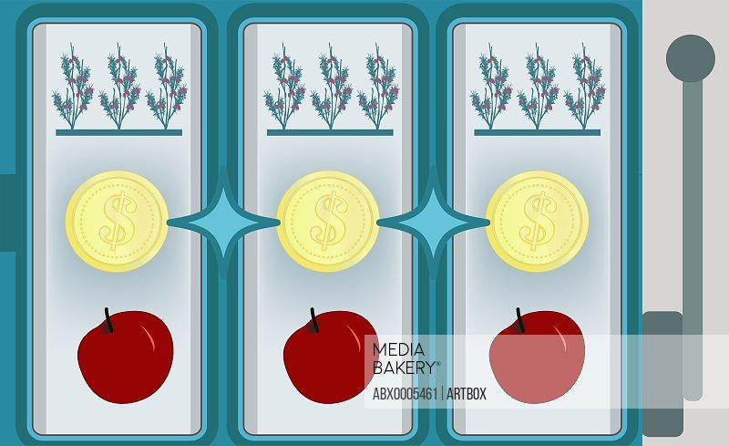Coins with crops and fruits on a gambling machine