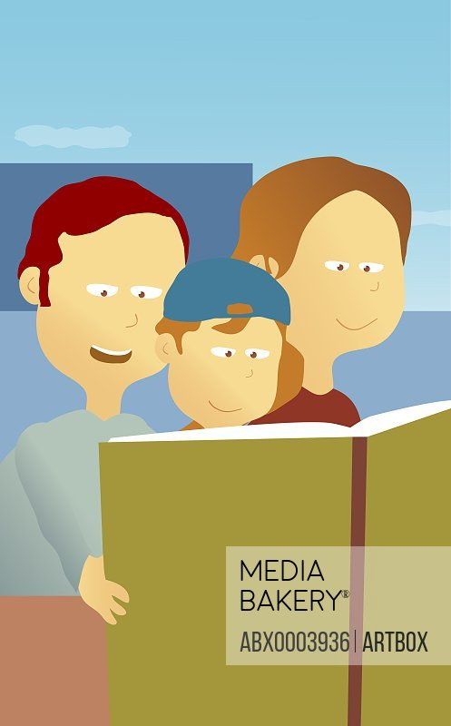 Parents and their son reading a book