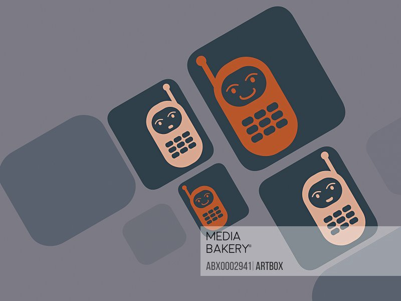 Four mobile phones with human faces