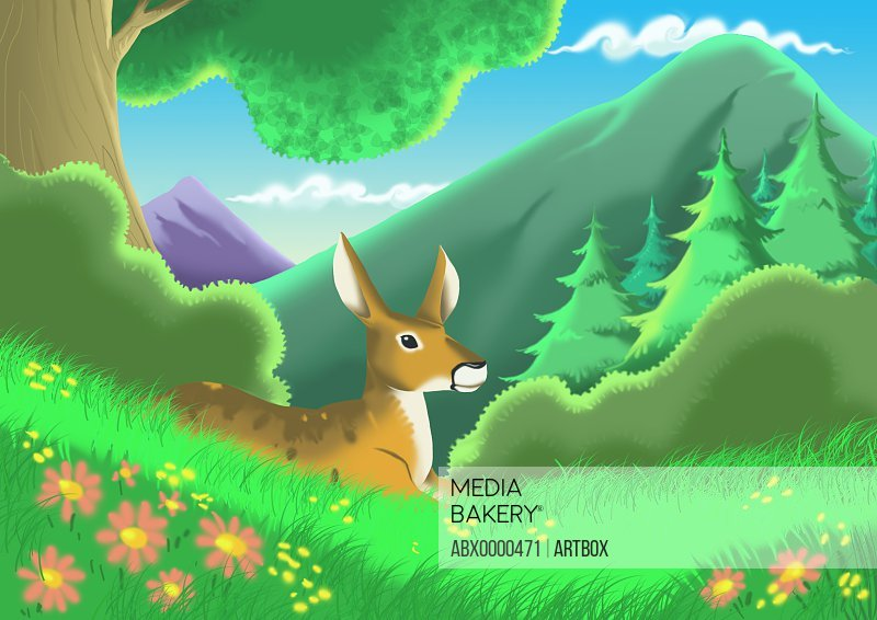 Side profile of a deer sitting on a hillside