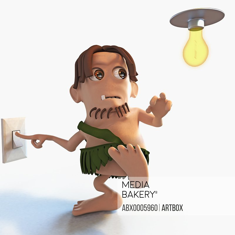Man switch off a light bulb