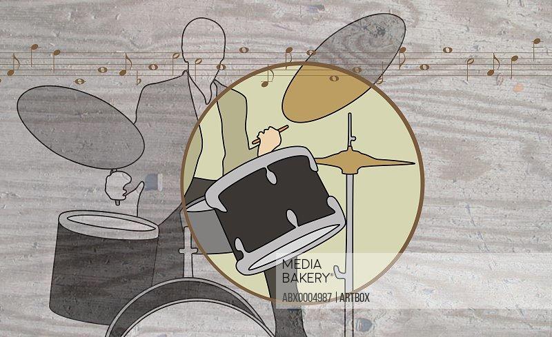 Man playing a drum kit