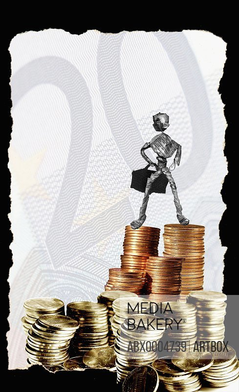 Figurine of a man standing on a stack of coins