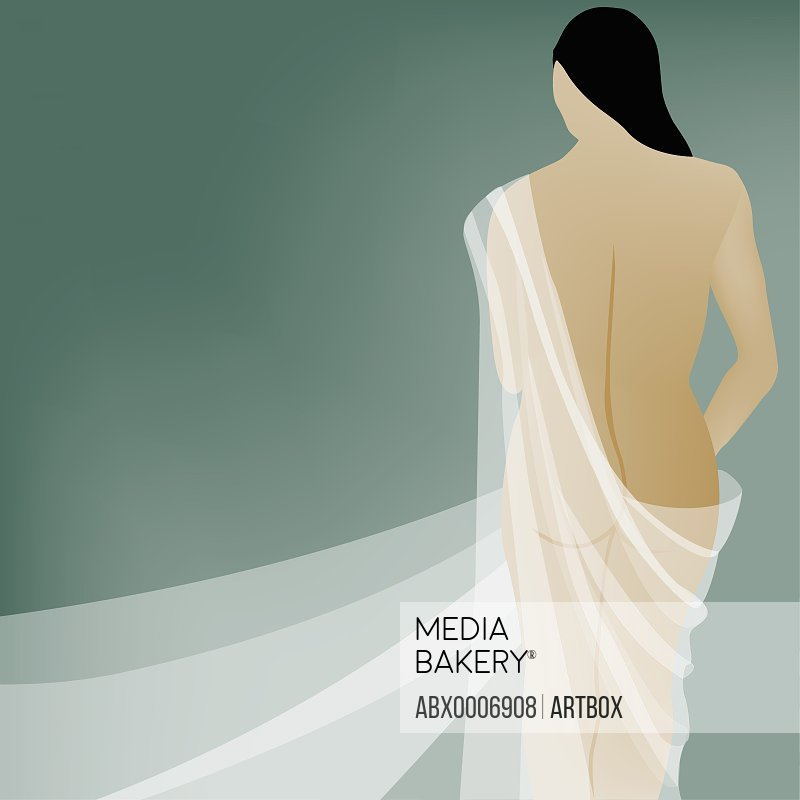 Rear view of a naked young woman draped in cloth