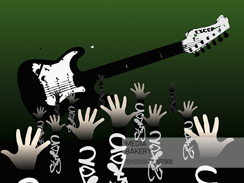Group of human hands in front of a guitar