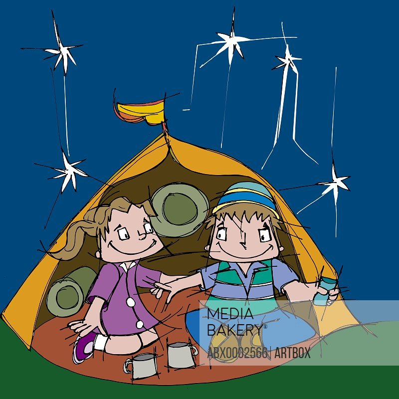Boy and a girl sitting in a tent