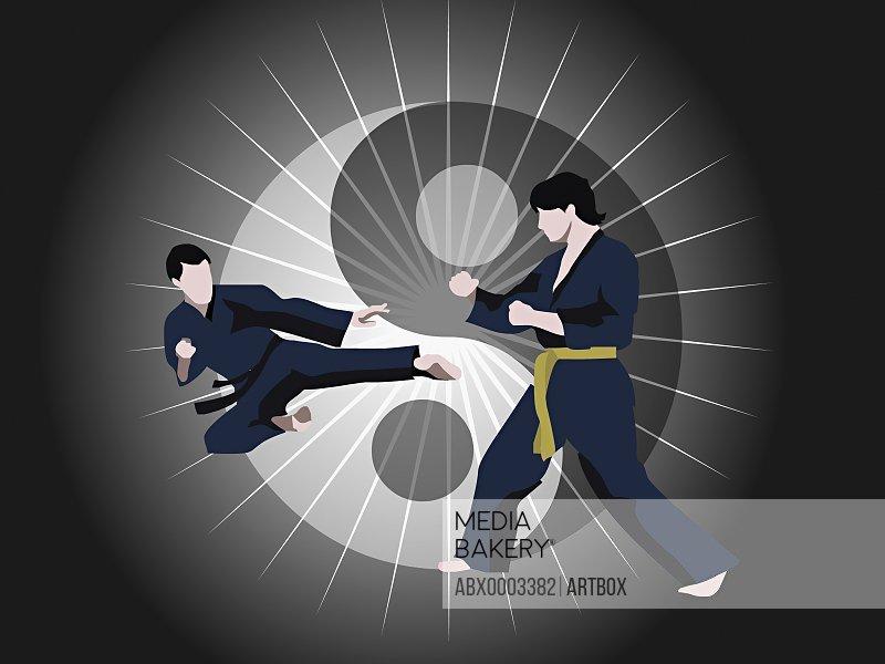 Two men performing martial arts