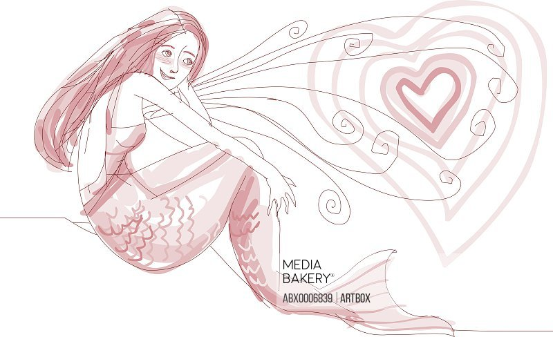 Mermaid with a heart in front of her