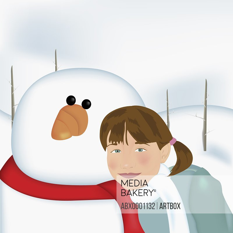 Girl standing with a snowman