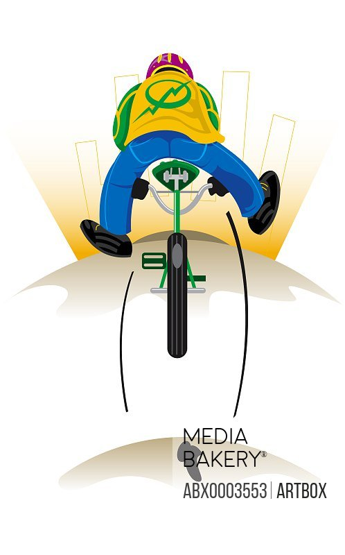 Rear view of a boy riding a bicycle