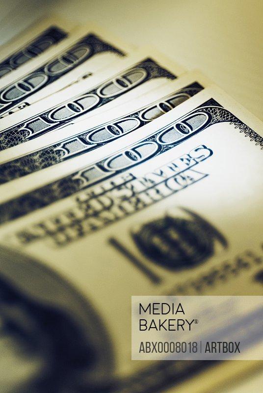 Close-up of US dollar banknotes