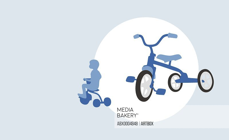 Tricycle with the silhouette of a child