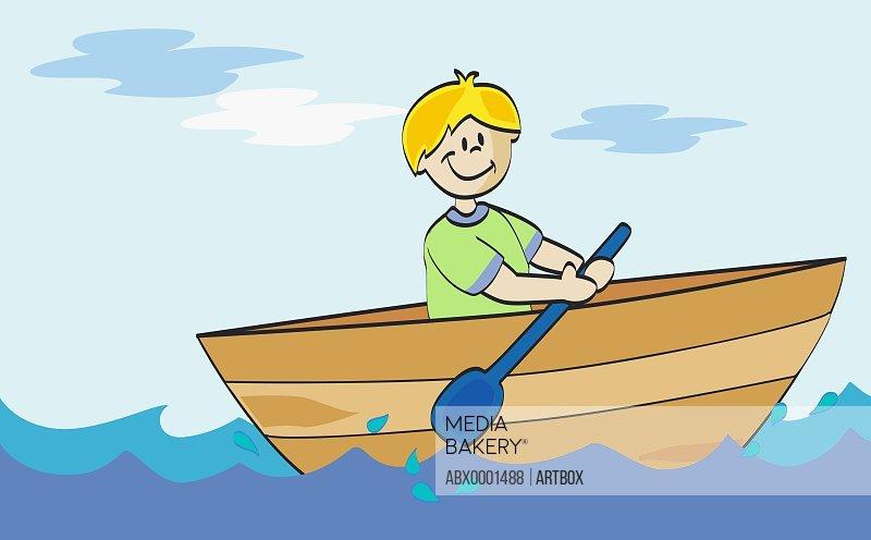 Boy rowing a boat