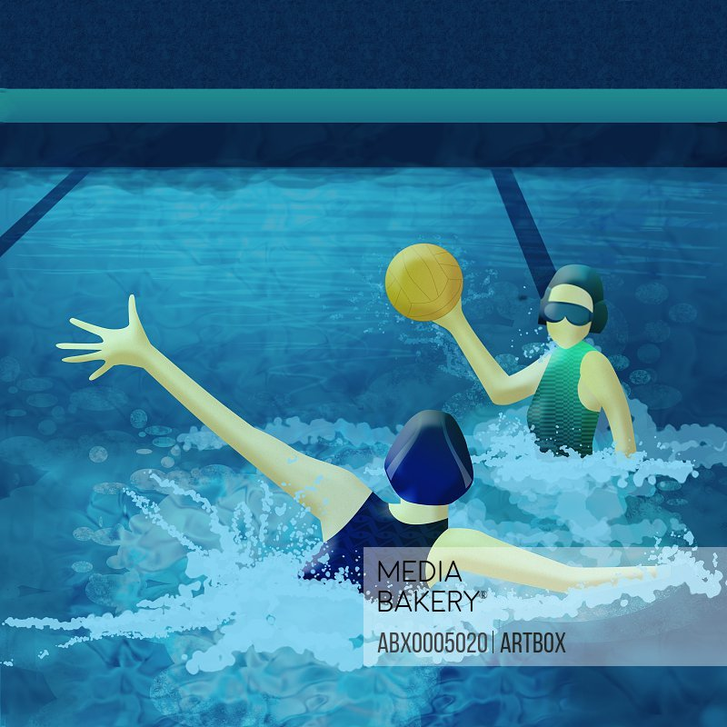 Two women playing with a ball in swimming pool