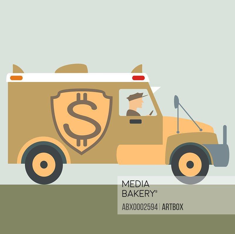 Dollar sign on an armored van
