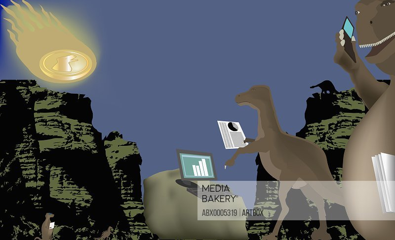 Two dinosaurs using a mobile phone and a laptop