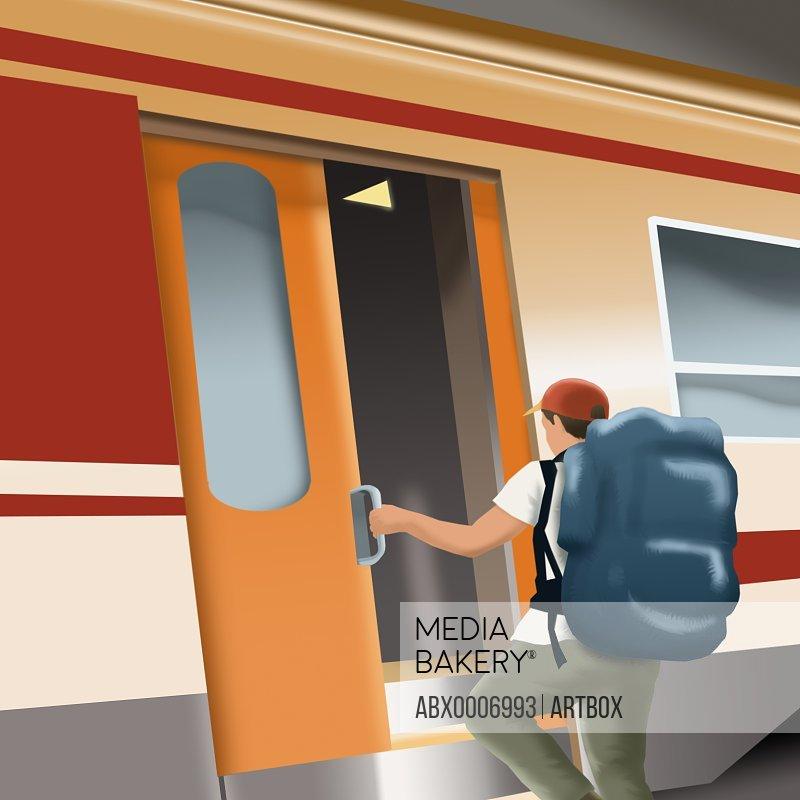 Man boarding a train