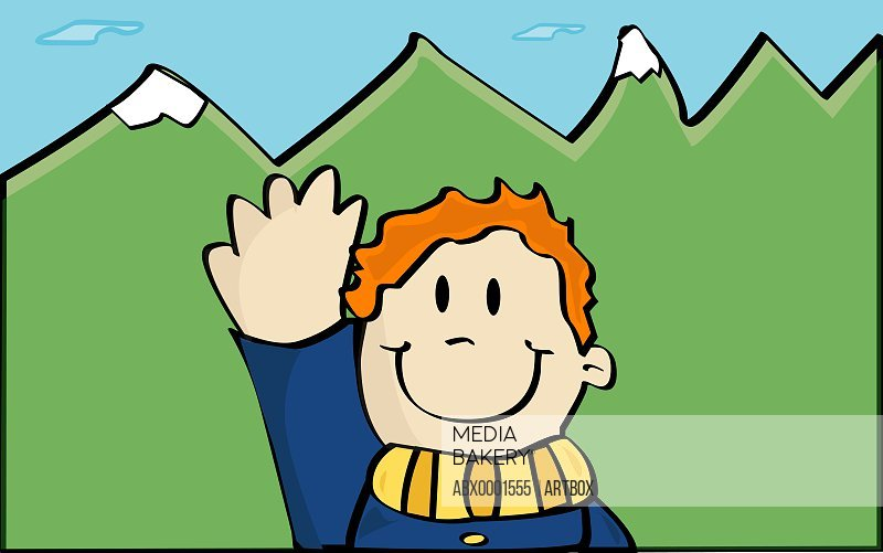 Close-up of a boy waving his hand
