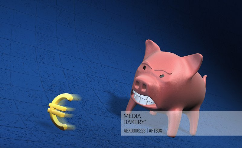 Piggy bank getting angry with Euro sign