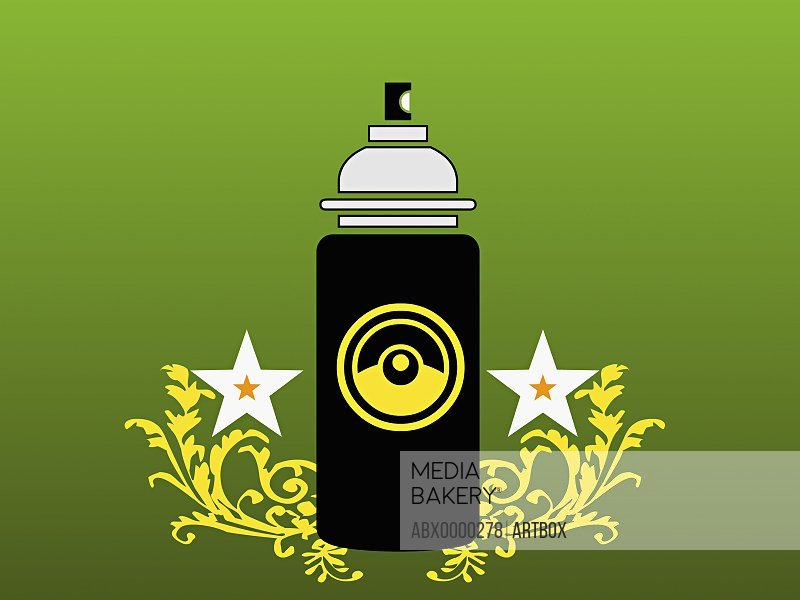 Perfume bottle on a green background