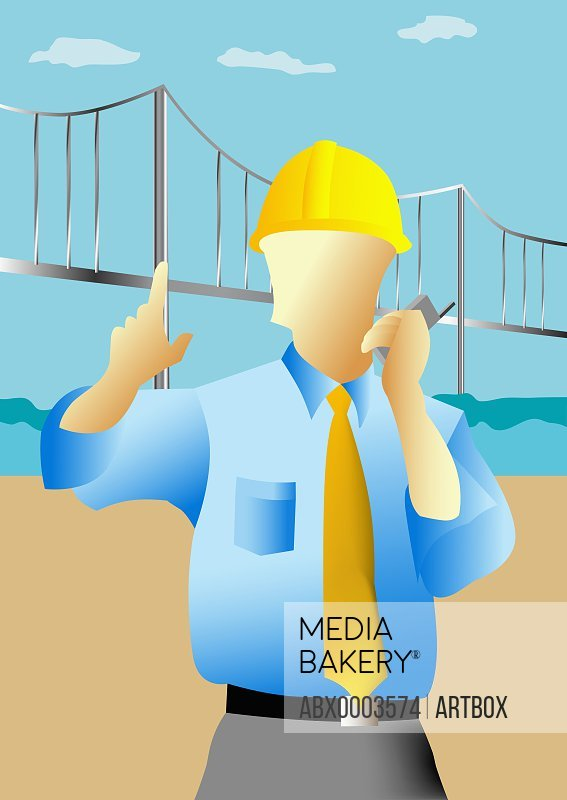 Construction worker talking on a mobile phone