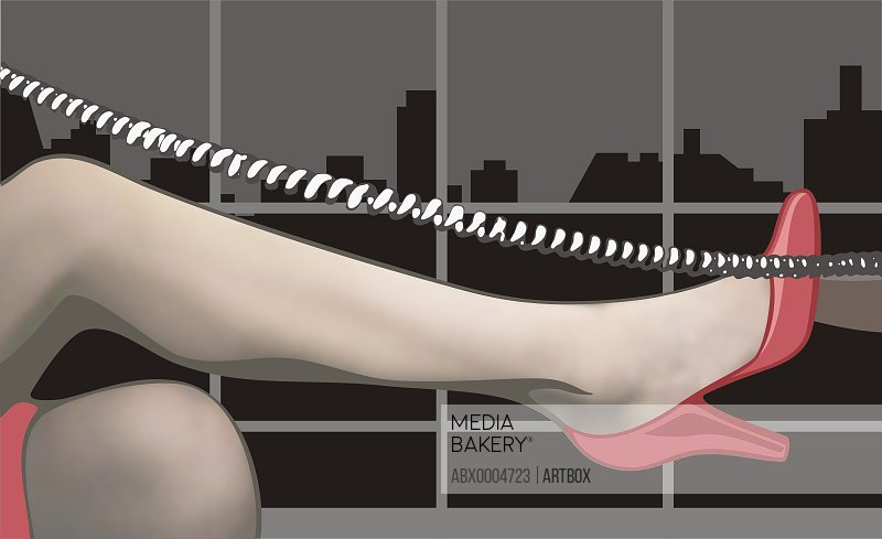 Woman's leg with a telephone cord