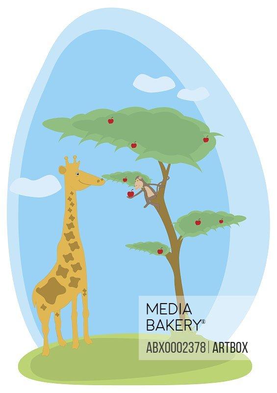 Monkey offering an apple to a giraffe