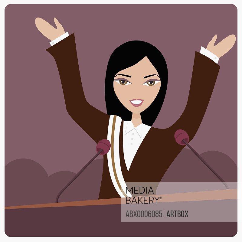 Female politician on a lectern