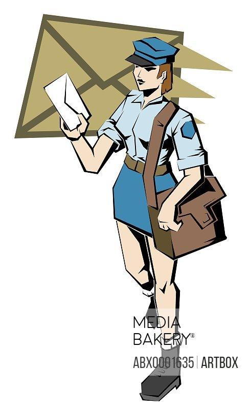 Female postal worker holding a letter