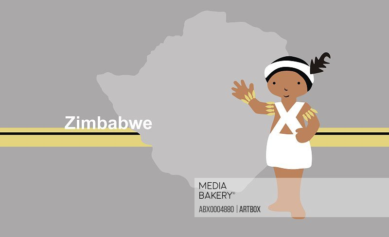 Girl in traditional clothing near map of Zimbabwe