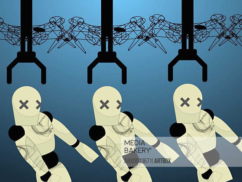 Robotic arms reaching toward robots