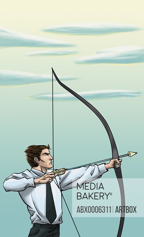 Businessman aiming with bow and arrow