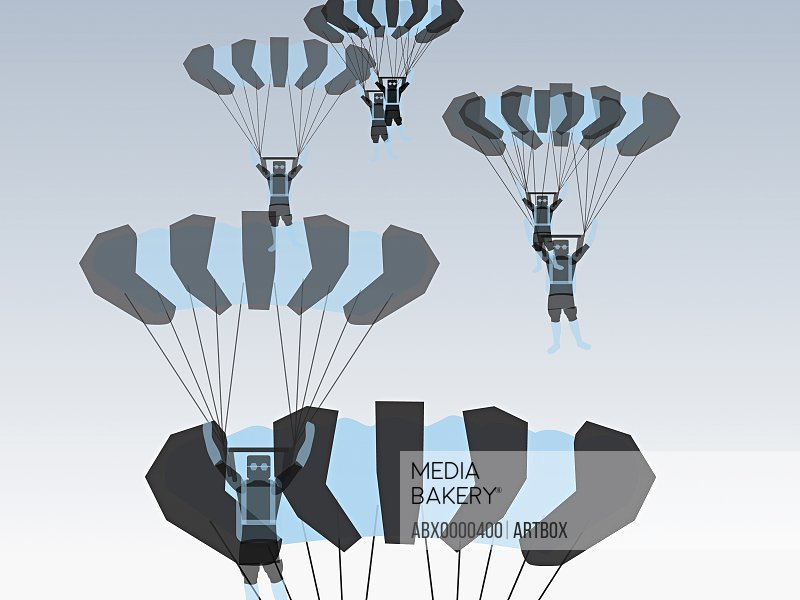 Low angle view of a group of people parachuting