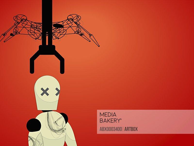 Robotic arm reaching towards a robot