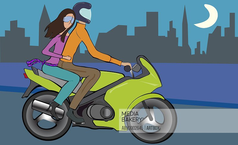 Man and a woman riding on a motorcycle
