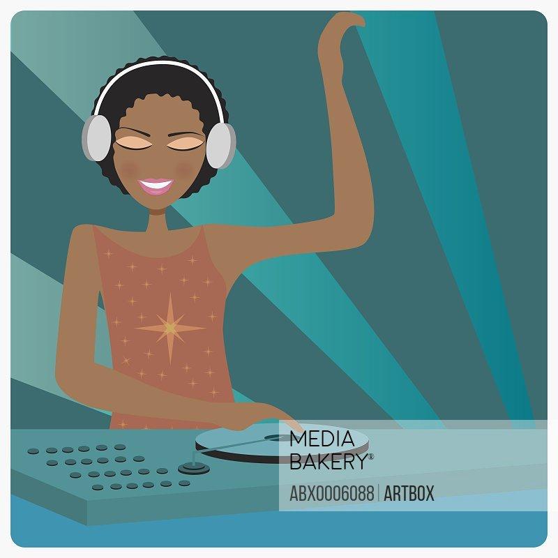 Female dj wearing headphones and playing music