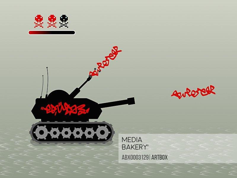 Close-up of a military tank firing