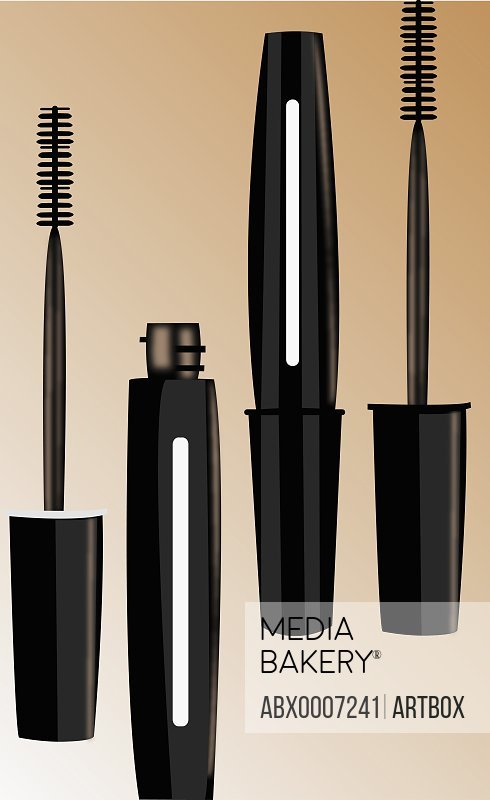 Close-up of mascara bottles and brushes