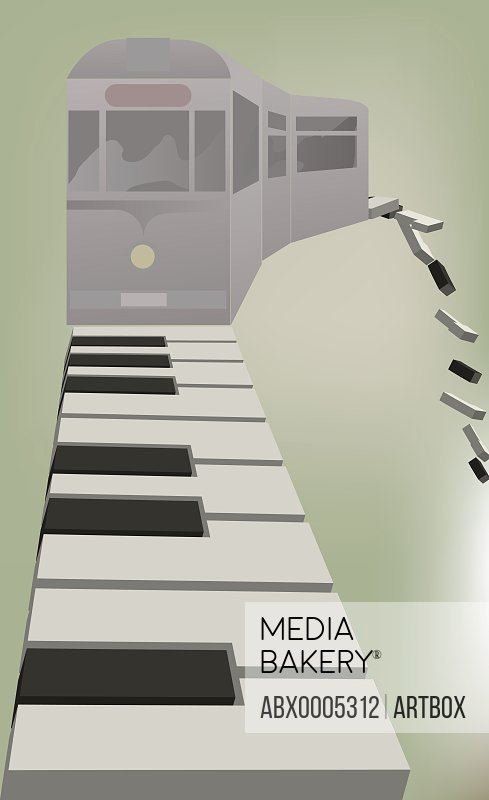 Railroad car on piano keys