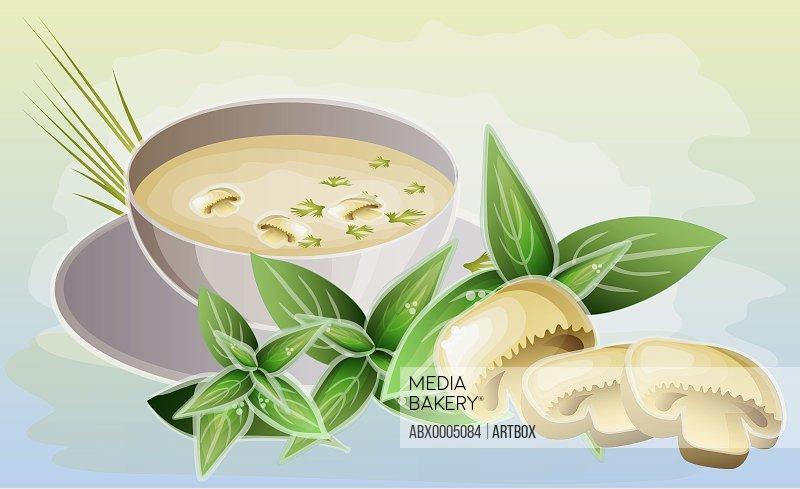 Bowl of mushroom soup with mushrooms