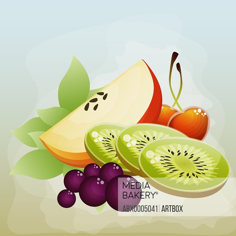 Kiwi fruit slices with apples and red grapes