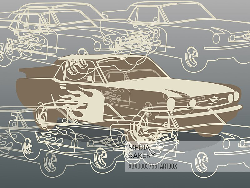 Close-up of a car against a gray background